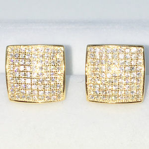 Gold Bulgy square round white CZ Studs Earrings